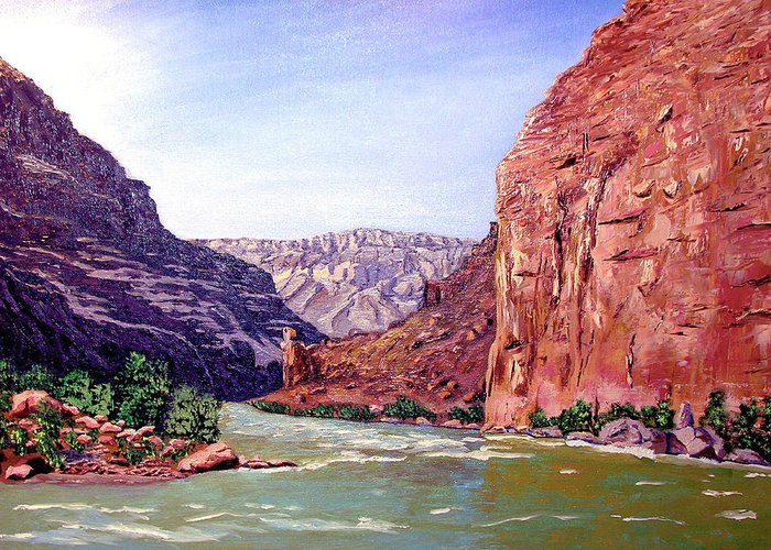 Original Oil On Canvas Greeting Card featuring the painting Grand Canyon I by Stan Hamilton