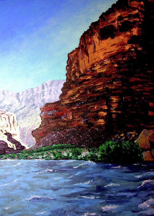 Oiriginal Oil On Canvas Greeting Card featuring the painting Grand Canyon II by Stan Hamilton