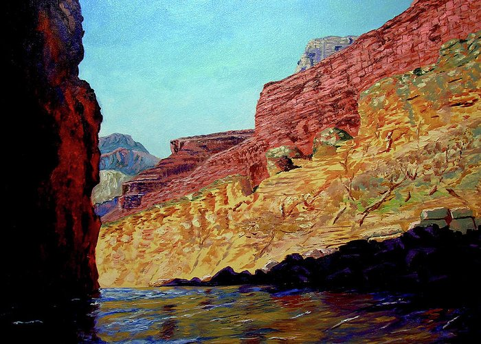 Original Oil On Canvas Greeting Card featuring the painting Grand Canyon IIi by Stan Hamilton