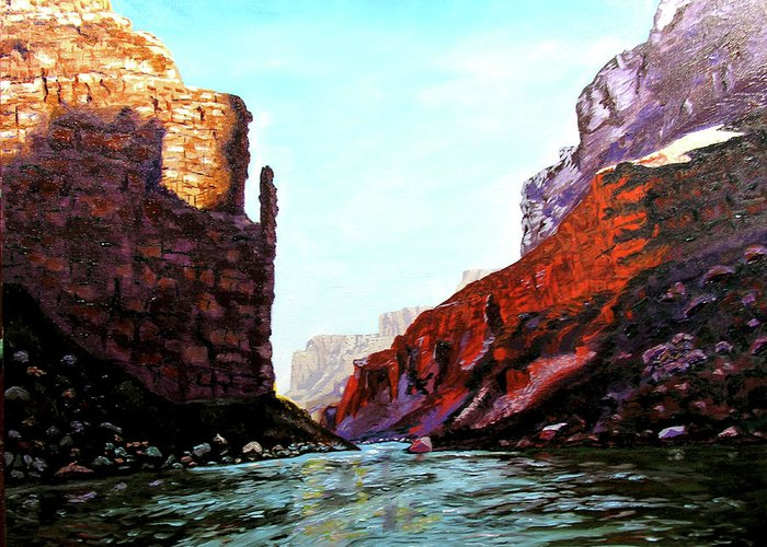 Original Oil On Canvas Greeting Card featuring the painting Grand Canyon IV by Stan Hamilton