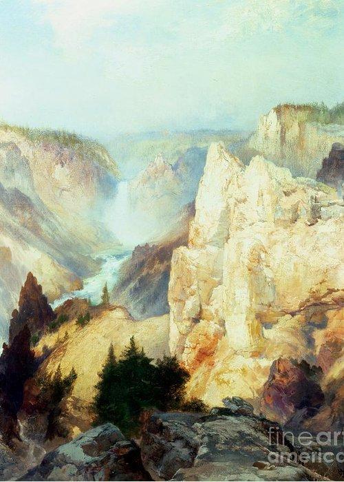 Grand Canyon Of The Yellowstone Park (oil On Canvas) By Thomas Moran (1837-1926) Thomas Moran Greeting Card featuring the painting Grand Canyon Of The Yellowstone Park by Thomas Moran