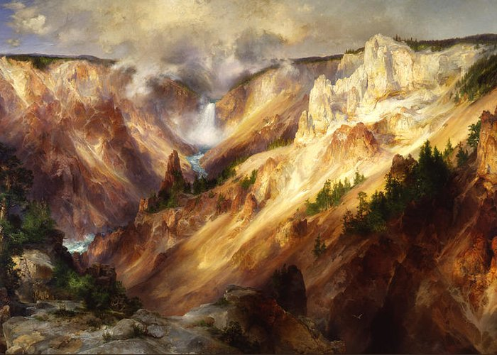 Great Falls Of Yellowstone Greeting Cards