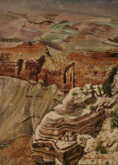 Landscape Greeting Card featuring the painting Grand Canyon by Rosencruz Sumera