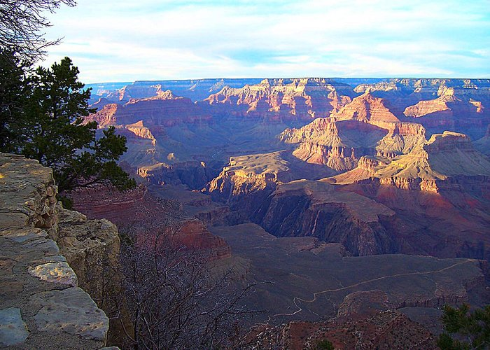 Landscape Greeting Card featuring the photograph Grand Canyon South Rim by Michael C Crane