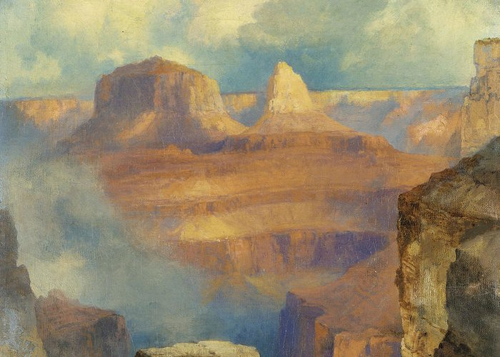 Thomas Moran Greeting Card featuring the painting Grand Canyon by Thomas Moran