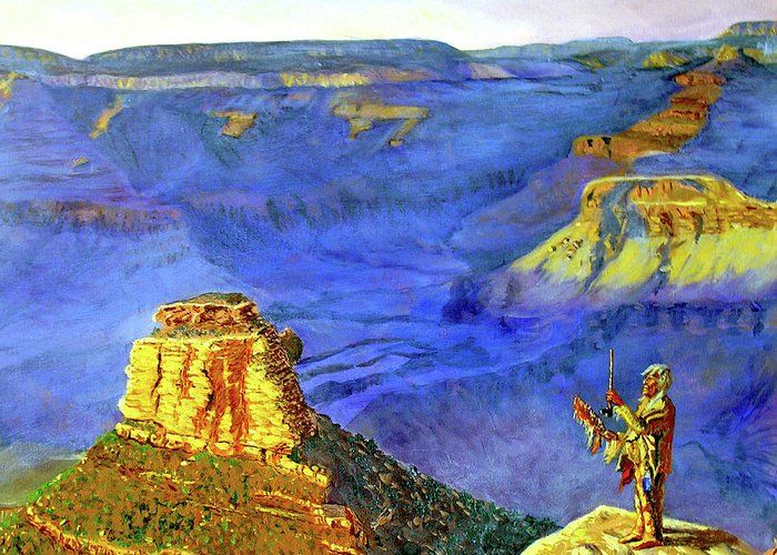 Original Oil On Canvas Greeting Card featuring the painting Grand Canyon V by Stan Hamilton