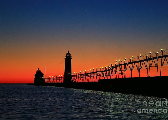 Water Greeting Card featuring the photograph Grand Haven Light House by Robert Pearson