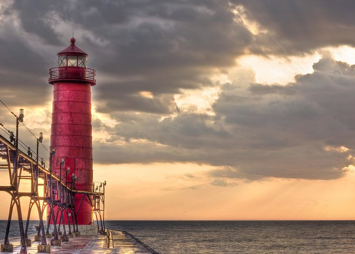 Lighthouse Greeting Card featuring the photograph Grand Haven Lighthouse Hdr by Jeramie Curtice
