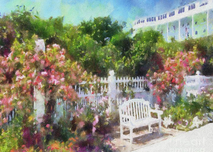 Grand Hotel Greeting Card featuring the painting Grand Hotel Gardens Mackinac Island Michigan by Betsy Foster Breen