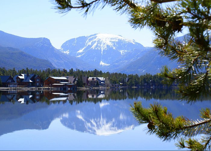 Grand Lake Co Greeting Card featuring the photograph Grand Lake Co Mt Baldy From Shadow Mtn Lake by Jacqueline Russell