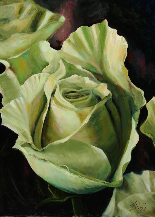 Roses Greeting Card featuring the painting Grand -opening by Billie Colson