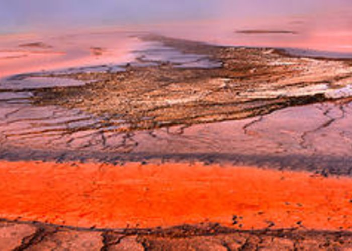 Grand Prismatic Greeting Card featuring the photograph Grand Prismatic Algae Mat Panorama by Adam Jewell