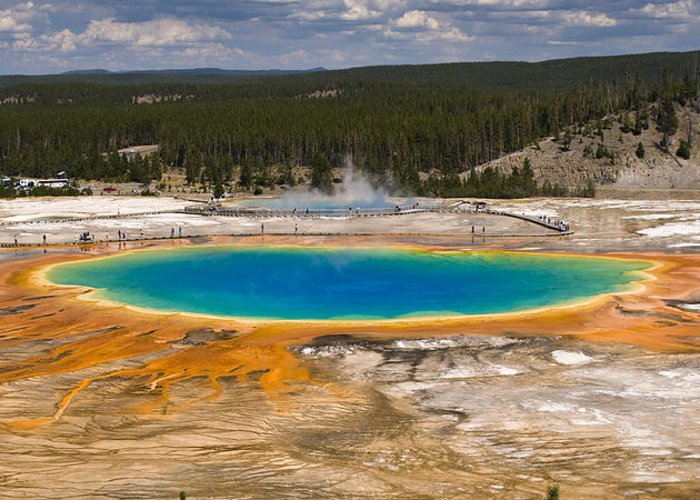 Grand Prismatic Spring Greeting Card featuring the photograph Grand Prismatic Spring by Chad Davis