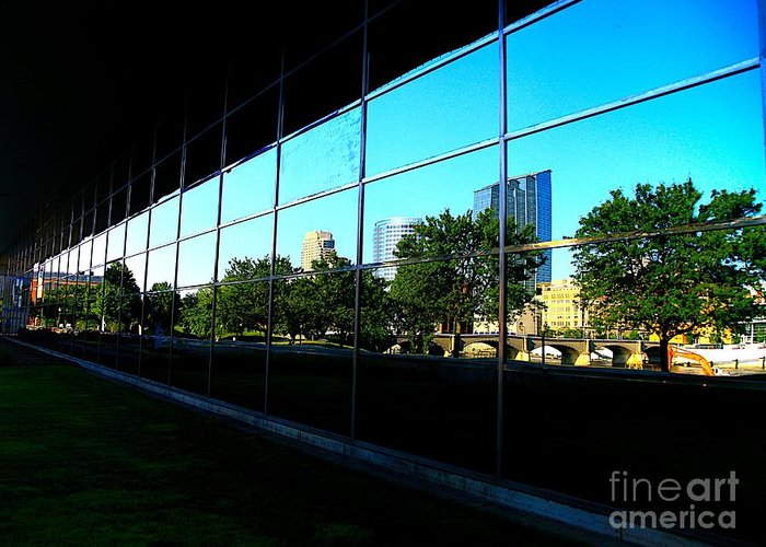 City Greeting Card featuring the photograph Grand Rapids Mi On Glass-12 by Robert Pearson