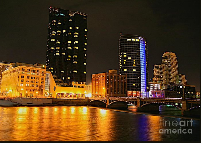 Grand Rapids Mi City Scapes Greeting Card featuring the photograph Grand Rapids Mi Under The Lights-2 by Robert Pearson