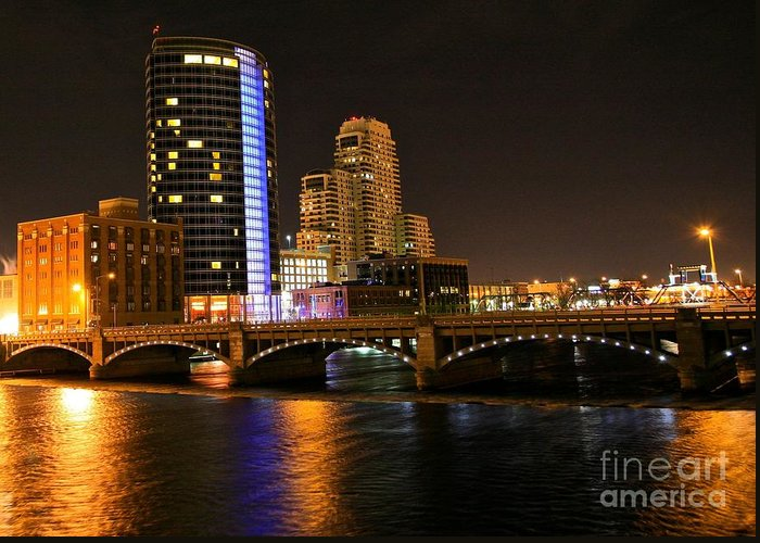 Tags:  West Michigan Photographs Greeting Card featuring the photograph Grand Rapids Mi Under The Lights by Robert Pearson