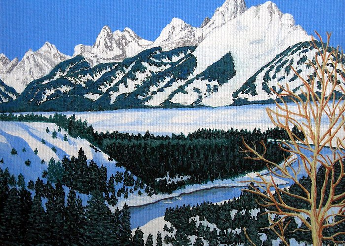 Landscape Art Greeting Card featuring the painting Grand Teton by Frederic Kohli