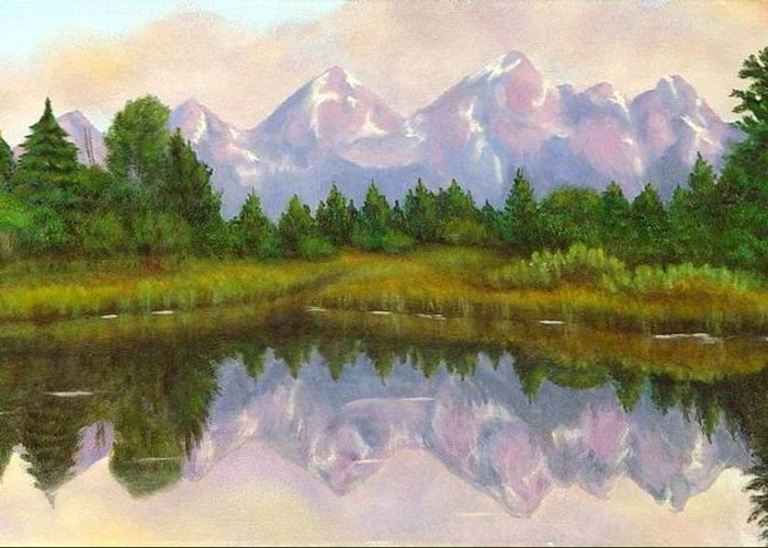 Landscape Greeting Card featuring the painting Grand Tetons by Merle Blair