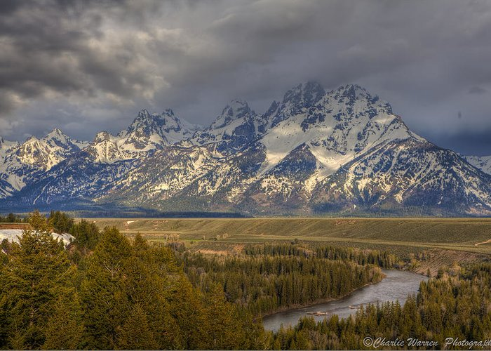Grand Tetons Greeting Card featuring the photograph Grand Tetons Snake River by Charles Warren