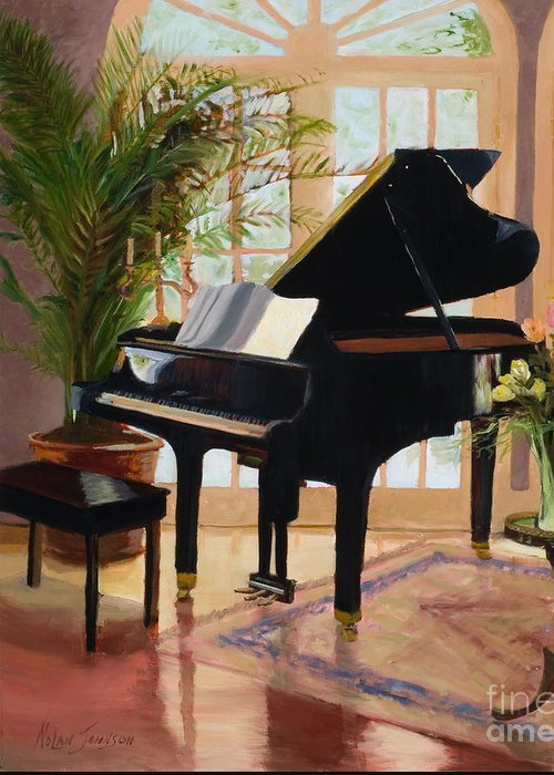 Grand Piano In Pretty Room Greeting Card featuring the painting Grand View By Marilyn Nolan- Johnson by Marilyn Nolan-Johnson
