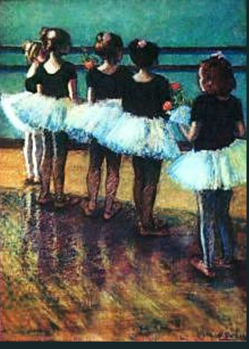 Ballet Flower Dance Greeting Card featuring the painting Grandaughter's Class by Helen Hickey