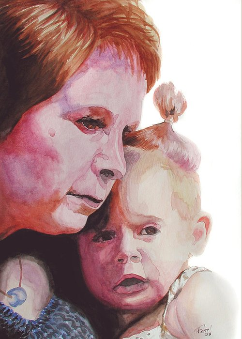 Baby Greeting Card featuring the painting Grandchild by Ferrel Cordle