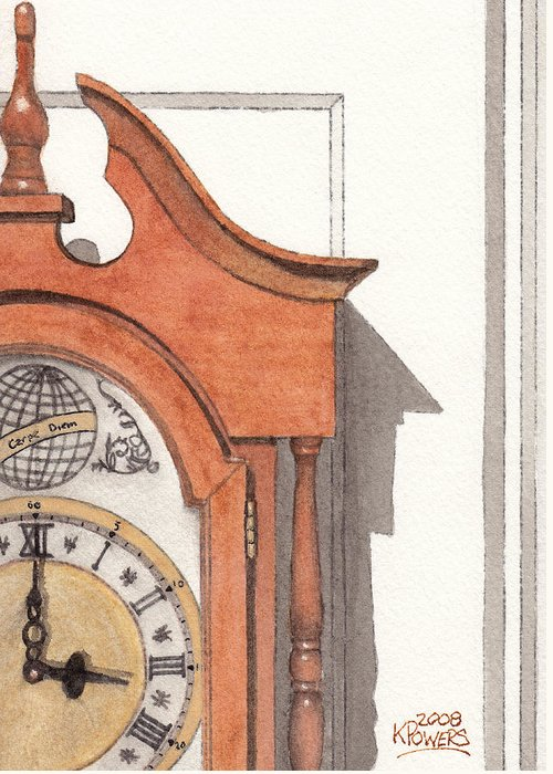 Watercolor Greeting Card featuring the painting Grandfather Clock by Ken Powers