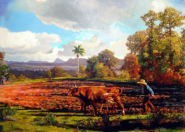 Cuban Art Greeting Card featuring the painting Grandfather Farm by Jose Manuel Abraham