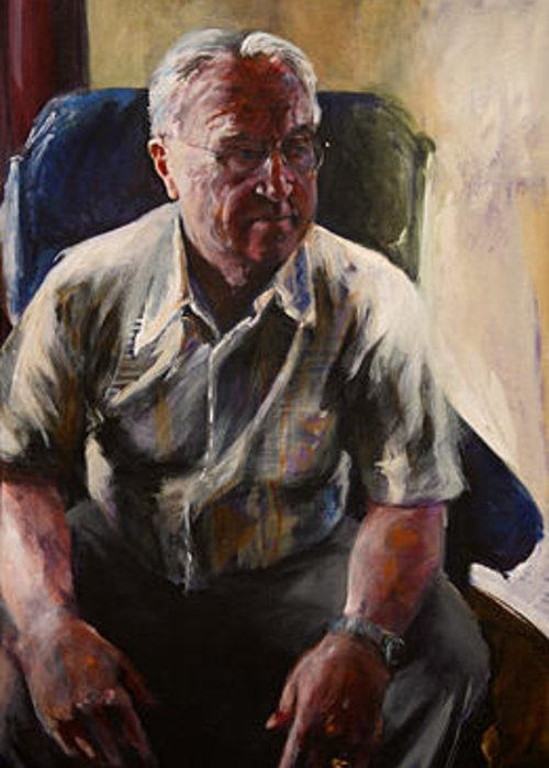Portrait Greeting Card featuring the painting Grandfathers' Time by Michelle Winnie