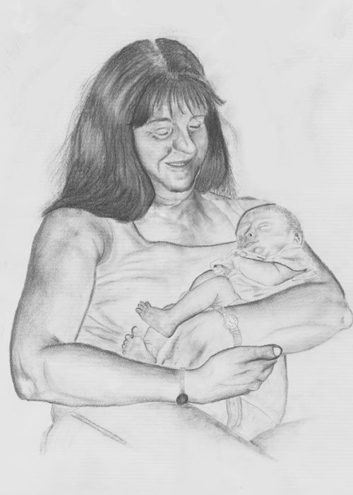 Drawing Greeting Card featuring the drawing Grandma And Grandchild by Russ Smith
