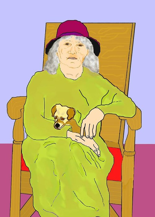 Grandmother Greeting Card featuring the painting Grandma And Puppy by Pharris Art