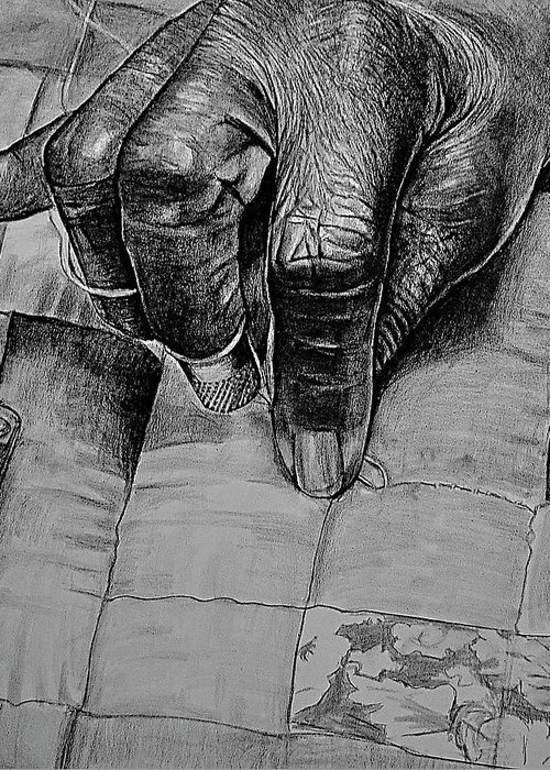 Hands Greeting Card featuring the drawing Grandma's Hands by Curtis James