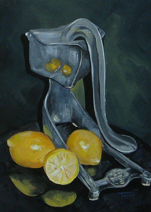 Lemons Greeting Card featuring the painting Grandma's Lemons by Torrie Smiley