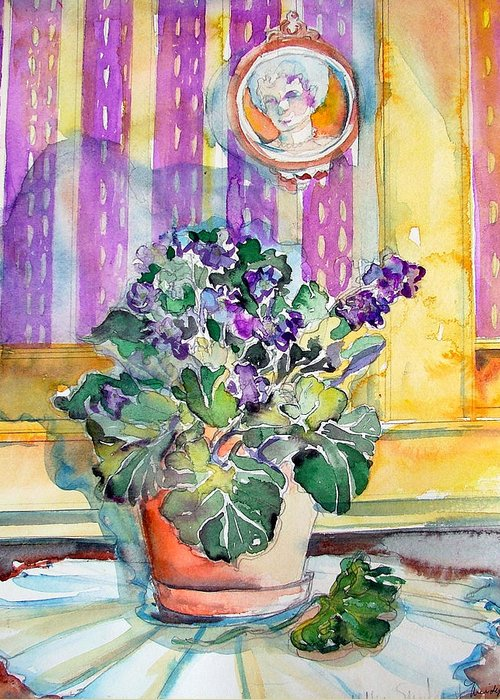 Violets Greeting Card featuring the painting Grandmas' Violets by Mindy Newman