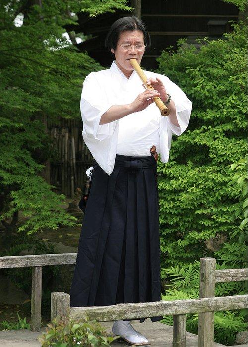 Komuso Greeting Card featuring the photograph Grandmaster Playing Shakuhachi by Masami Iida