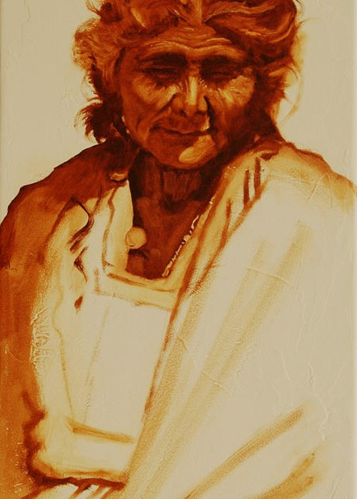 Mexico Greeting Card featuring the painting Grandmother by Robert Bissett
