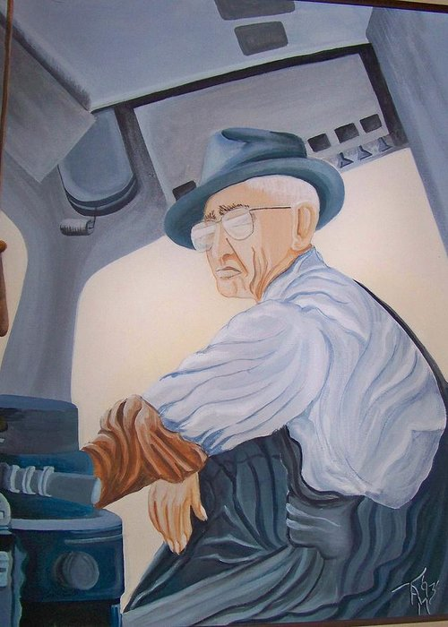 Southern Pacific Railroad Greeting Card featuring the painting Grandpa Albee by Tammera Malicki-Wong