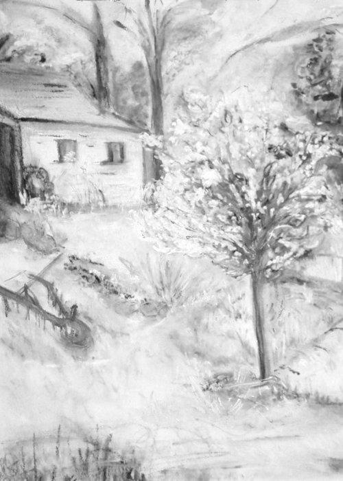 Backyard Greeting Card featuring the painting Grandpa's Backyard Iv by Helena Bebirian