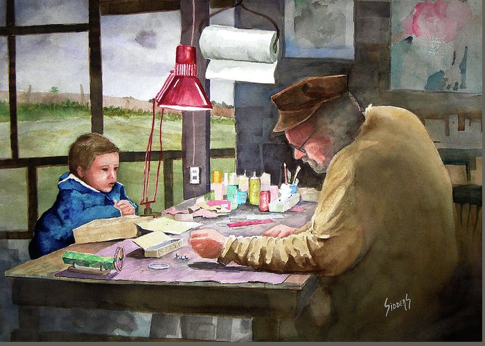 Man Greeting Card featuring the painting Grandpa's Workbench by Sam Sidders