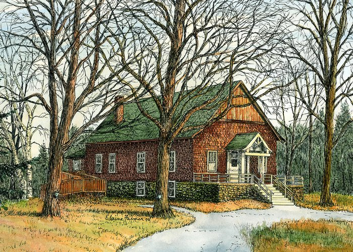 Elaine Farmer Greeting Card featuring the painting Grange Hall No.44 by Elaine Farmer