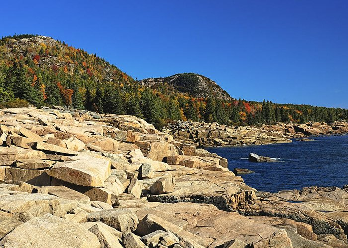 Acadia Greeting Card featuring the photograph Granite Rocks At The Coast by George Oze