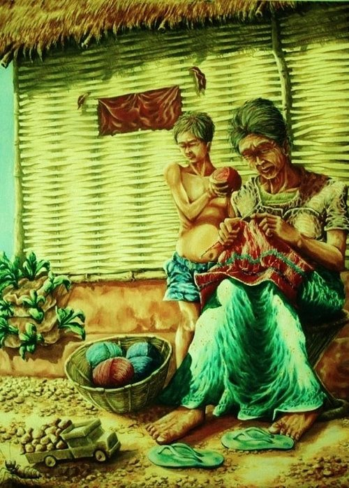 Granny And Grand Son Greeting Card featuring the painting Granny And Grand Son by Pralhad Gurung