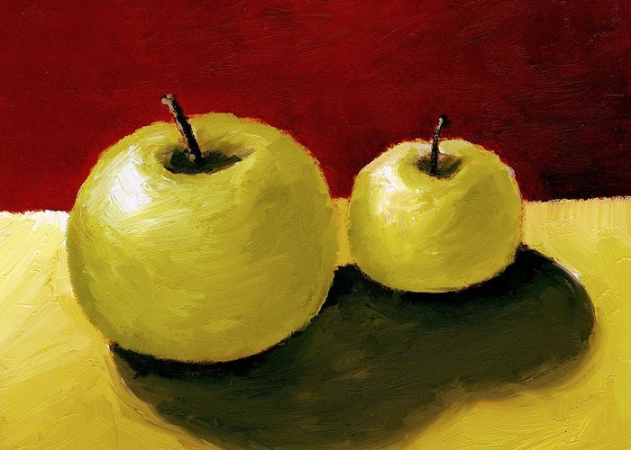 Apple Greeting Card featuring the painting Granny Smith Apples by Michelle Calkins
