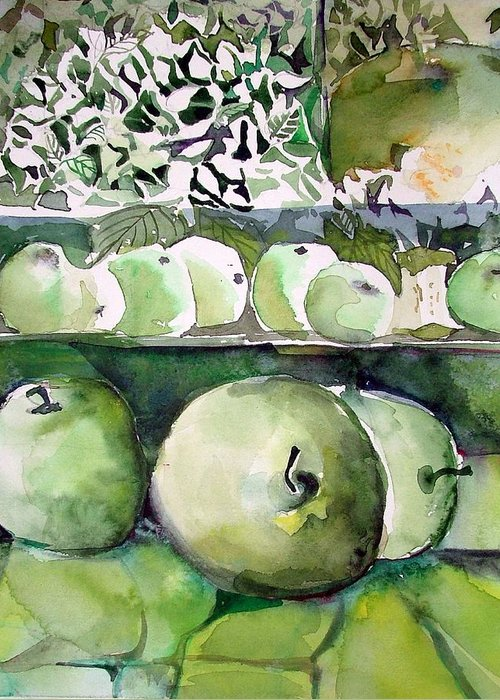 Apple Greeting Card featuring the painting Granny Smith Apples by Mindy Newman