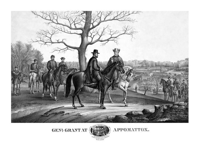 General Grant Greeting Card featuring the mixed media Grant And Lee At Appomattox by War Is Hell Store