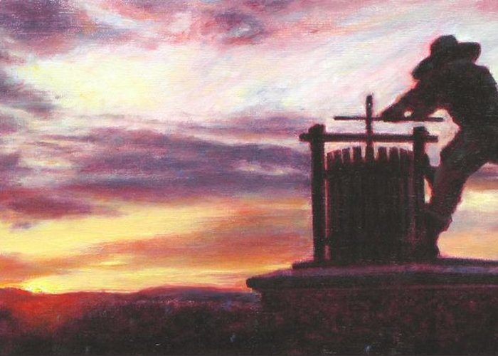 Wine Painting Greeting Card featuring the painting Grape Crusher Napa Valley Sunset by Takayuki Harada