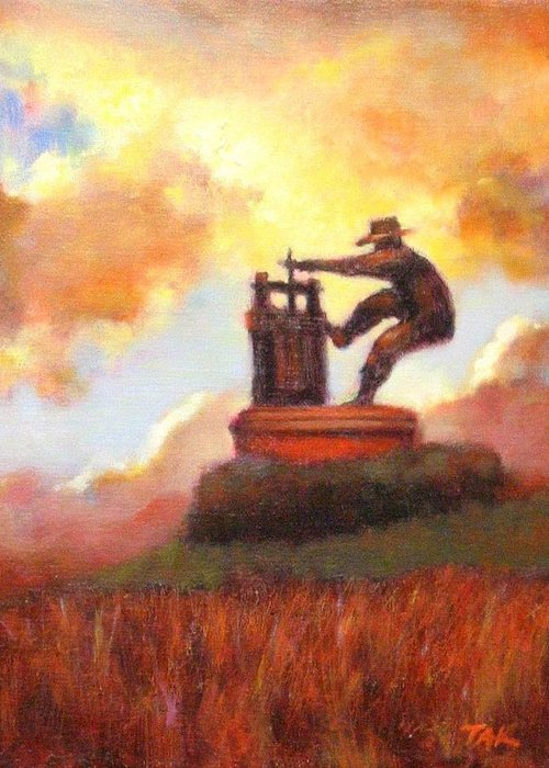 Wine Painting Greeting Card featuring the painting Grape Crusher Sunset Cloud Napa Valley by Takayuki Harada