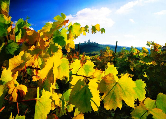 Wine Greeting Card featuring the painting Grape Leaves And The Sky by Elaine Plesser