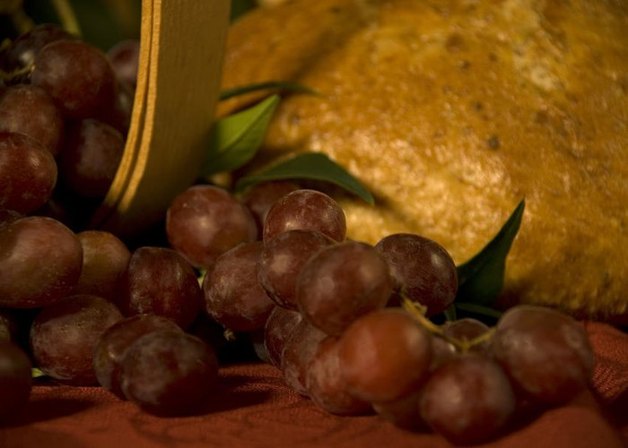 Fruit Greeting Card featuring the photograph Grapes And Bread by Jessica Wakefield