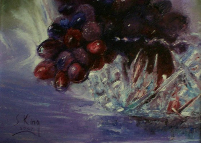 Still Life Greeting Card featuring the painting Grapes And Glass by Stephen King